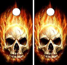 C29 Flaming Skull Cornhole Board Wrap LAMINATED Wraps Decals Vinyl Sticker