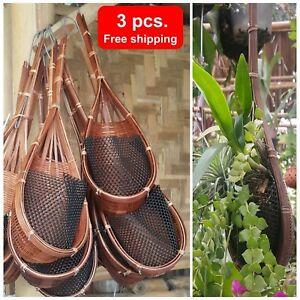 3x Woven Basket Planter Bamboo Home Decor Orchid Flower Hanging Pot Garden