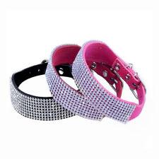 Bling Rhinestone Crystal Diamond Leather Cat Dog Puppy Collar Pet Collar