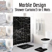 4Pcs Marble Type Bathroom Waterproof Rug Toilet Seat Bath Mat + Shower Curtain