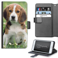 HAIRYWORM BEAGLE PUPPY DOG DELUXE LEATHER WALLET PHONE CASE, FLIP CASE, COVER