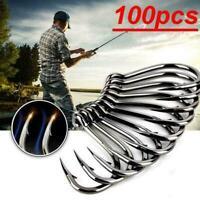 100 Fishing Hooks Jig Big Hook High Carbon Steel Bait Fishhooks Holder N0V6
