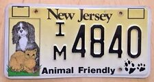 """NJ ANIMAL FRIENDLY LICENSE PLATE """" IM 4840 """" DOGS AND CATS PETS DOG CAT CANINE"""