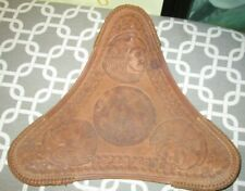 Vintage 1960's-70's Tripod Hand Tooled Leather Seat Cover NATIVE AMERICAN CHIEF
