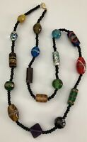 """Black & Multi Color Glass Lampwork Art Glass Beaded Strand Colorful Necklace 30"""""""