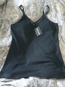 Black Fitted Vest Top With Bra Support Size 8 10 anyfit wear