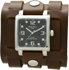 Brown Genuine Leather Cuff Band Watch Men's 3 Strap - Handmade
