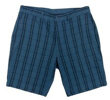 Patagonia Mens Size 36 Blue Black Checked Seersucker Flat Front Chino Shorts EUC