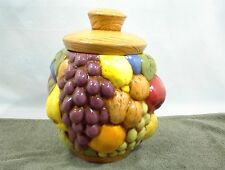 COOKIE JAR MULTI COLORED VARIOUS FRUIT GRAPES PEARS APPLES ORANGES NO DAMAGE
