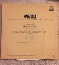 """Gregorian Chant Missa in Dominica Resurrectionis Archive ARC3001 MONO 12"""" 33 RPM"""