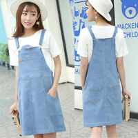 Denim Dress Overall Strappy Maternity Light Blue Cute Trendy Comfy M/L/XL/2XL