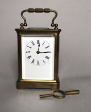 R & Co Paris French Brass & Glass Carriage Clock (with Key)