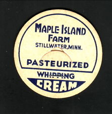 Maple Island Farm Pasteurized Whipping Cream Bottle Cap--Stillwater, Minnesota