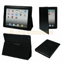 Black High Quality Leather Flip Case Cover For The New Apple iPad 4, 3, 2 - UK