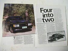 ADEYER 2-DOOR VH COMMODORE SL/E 4.2 V8 4 PAGE MAGAZINE FEATURE ARTICLE
