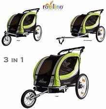 Fahrradanhänger TOURING grün mit Zubehör, Kinderfahrradanhänger von rosilino TÜV