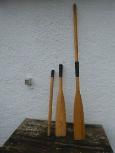 Pair of wooden boat oars, in good condition. Split into two parts for storage.