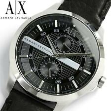 NIB Armani Exchange AX Black Dial Black Leather Men's Watch AX2120