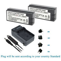 2x Battery 1100mAH +Charger for SONY NP-FC11 NP-FC10 DSC-P12 P2 P3 P5 P7 V1
