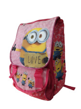 zaino scuola minions love Bambina Rosa glitter cartoon cartone cattivissimo me