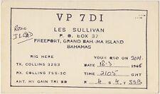 QSL FREEPORT BAHAMAS RADIO AMATORI CARD 1966