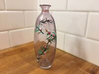 Vintage Glass Vase With Hand Painted Flowers