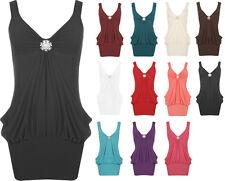 New Women's Stretch Diamante Broach Long Vest Drape Top Mini Dress Plus 8-22
