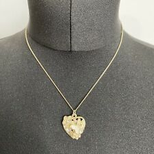 Accessorize Heart Pendant Necklace Gold Tone Butterfly Flower Sparkly Faux Pearl