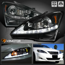 For 2006-2009 Lexus Is250 Is350 Black Led+Signal Strip Projector Headlights Pair (Fits: Lexus)
