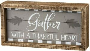 Gather with a Grateful Heart Wood Box Sign Primitives By Kathy Fall Decor