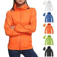 Women Lightweight Running Jacket Quick Dry Coat Sun Protect Jacket W/Storage Bag