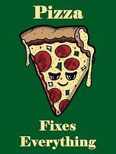 "Pizza Fixes Everything Food Humor Cartoon Vinyl Print Poster 18""X24"" New"
