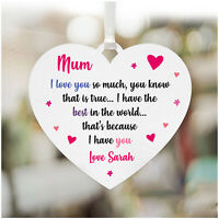 Personalised MUM I Love You Plaque Sign Birthday Gifts MUMMY NANNY NAN MOM