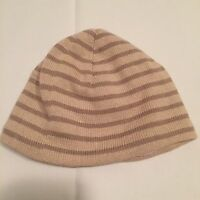 Next Beige Striped Fleece Lined Knitted Hat Baby Girls & Boys 3-6 Months