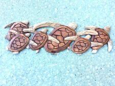 "New listing 20"" Sea Turtle Family 2 Tone Teak Wood Wall Plaque Patio Home Decor"