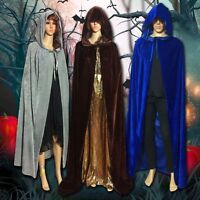New Halloween Medieval Witchcraft Cape Gothic Hooded Cloak Wicca Robe Adults SH