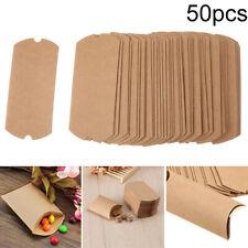 50pcs/set Mini Kraft Candy Boxes Baby Shower Gift Brown Pillow Wedding Favour