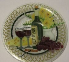 """Peggy Karr Wine, Cheese fused artglass round bowl, 13"""", 2"""" high excellent signed"""