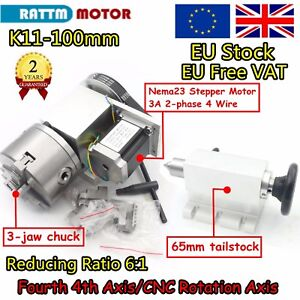 (UK)4th Axis 100mm Chuck Dividing head/Rotation A Axis &Tailstock for CNC Router