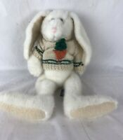 "Boyds Bear White 14"" Plush Jointed Bunny Rabbit Knitted Carrot Sweater Weighted"