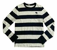 Abercrombie & Fitch Men's Crew Neck Blue White Striped Small 100% Cotton