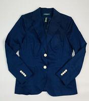 Lauren Ralph Lauren Womens 10 Navy Blue Cotton Blazer Jacket Stitched Monogram