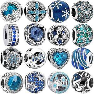 Blue S925 Silver Charms Bead Pendant Dangle For SILVER Bracelet Chain Bangle K5