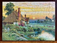 vintage old antique Art Picture puzzle famous masterpiece painting cows house