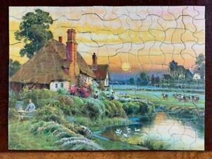 vintage old antique Art Picture puzzle famous masterpiece painting cows house