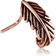 Rose Gold PVD Surgical Steel L Bend Nose Stud Ring Feather Nose Hugger 20G