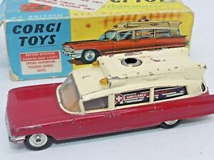 Vintage Corgi Toys 437 Superior Ambulance on Cadillac Chassis Original Box