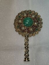 Vintage Hand Held Mirror 4 Inch Jeweled Sf mark/signed