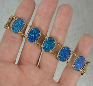 """Colourful Solid 9ct Yellow Gold Black Opal Composite 6 1/2"""" Long Bracelet"""
