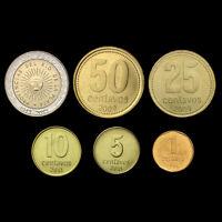 [A-1] Argentina Set 6 Coins, 1, 5, 10, 25, 50 Centavos +1 Pesos, 1992-2013, UNC